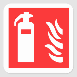 Fire Extinguisher Symbol Square Sticker