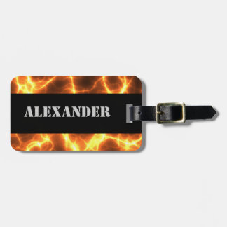 Fire Fiery Lava Hot Burning Molten - Monogrammed Luggage Tag