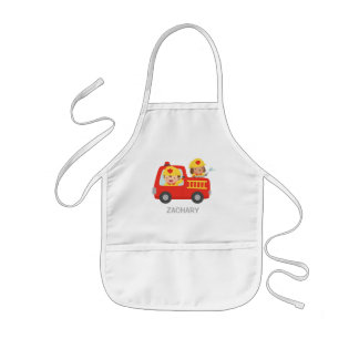 Fire fighter Boy and Dog in Red Fire Truck Apron