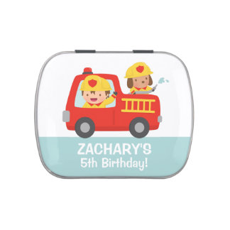 Fire fighter Boy in Red Fire Truck Birthday Candy