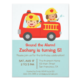 """Fire fighter Boy in Red Fire Truck Birthday Party 4.25"""" X 5.5"""" Invitation Card"""