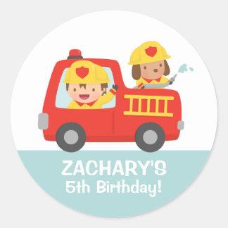 Fire fighter Boy in Red Fire Truck Birthday Party Round Sticker