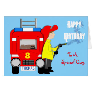 Fire-fighter Fire Engine Themed Happy Birthday Card