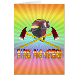 FIRE FIGHTER GEAR LOGO FLAMING TEXT CARD