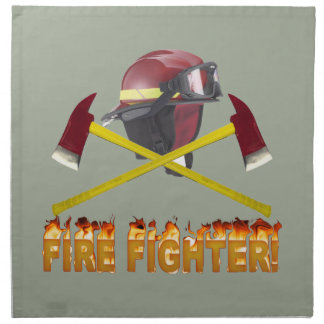 FIRE FIGHTER GEAR LOGO FLAMING TEXT NAPKIN