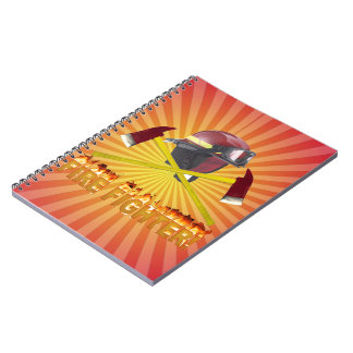 FIRE FIGHTER GEAR LOGO FLAMING TEXT NOTE BOOKS