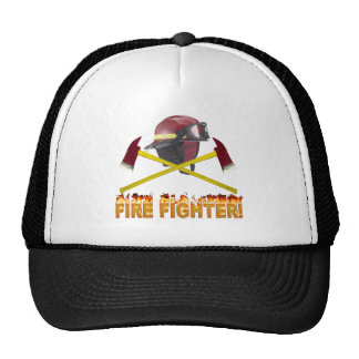 FIRE FIGHTER GEAR LOGO FLAMING TEXT TRUCKER HAT