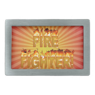 FIRE FIGHTER in Flames Belt Buckle