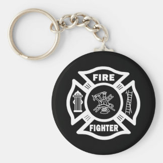 Fire Fighter Maltese Basic Round Button Keychain