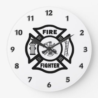 Fire Fighter Maltese Logo Large Clock