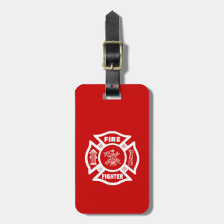 Fire Fighter Maltese Luggage Tag