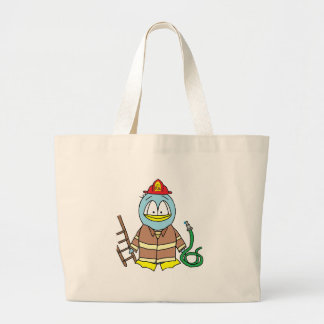 Fire Fighter Penguin Large Tote Bag