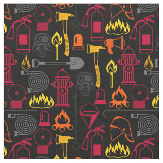 Fire Fighter Related Icons Pattern Black Fabric