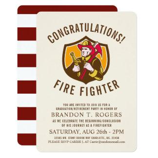 Fire Fighter Retro   Graduation Announcement