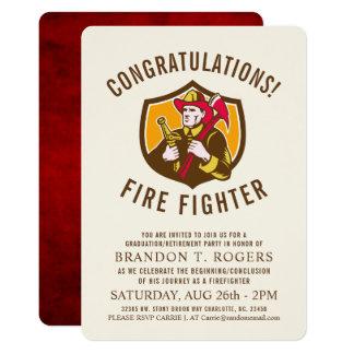 Fire Fighter Retro   Graduation Party Invite
