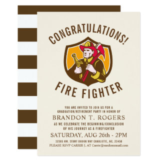 Fire Fighter Retro Style Graduation Announcement