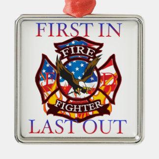 Fire Fighter Silver-Colored Square Ornament