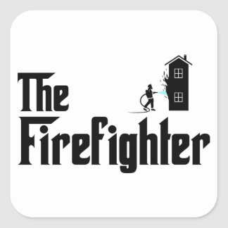 Fire Fighter Square Stickers