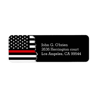 Fire Fighter Style American Flag Personalized Return Address Label
