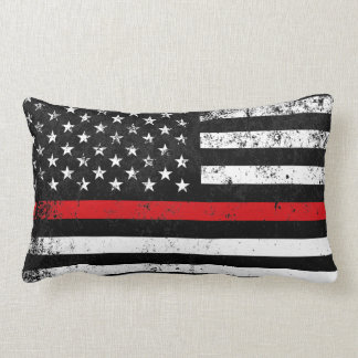 Fire Fighter Styled Distressed American Flag Lumbar Pillow