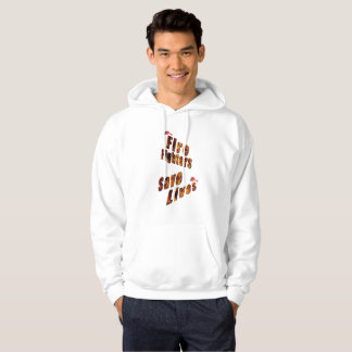 Fire Fighters Save Lives, Mens White Hoodie