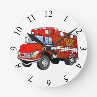 Fire Fighting Time Round Wall Clock