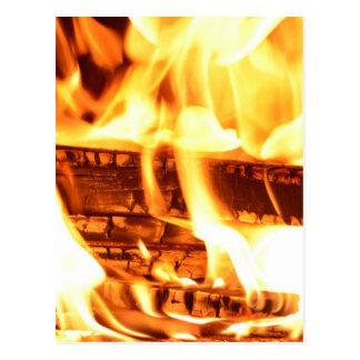 Fire flame design postcard