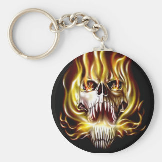 fire-flame-skull-evil basic round button keychain
