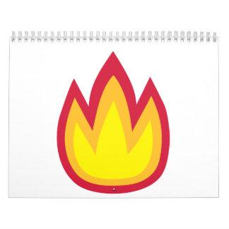 Fire flames wall calendar