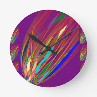 Fire Flare : Celebration HandCrafted Art : ENJOY Round Clock