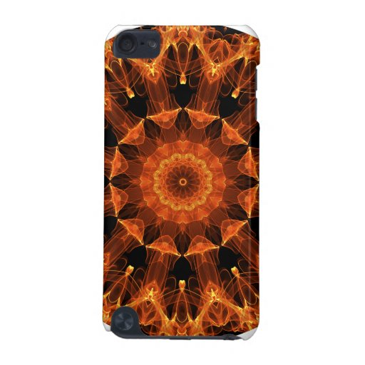 Fire Flower Mandala, Abstract Amber Flame iPod Touch 5G Cases