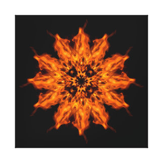 Fire Flower Mandala Fire Art Canvas Print