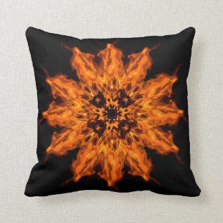 Fire Flower Mandala Fire Art Throw Pillow