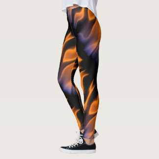 FIRE!  Fully Engulfed in Orange and Blue Flames Leggings