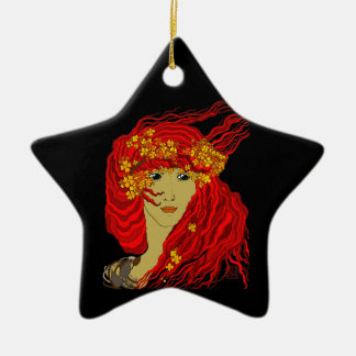 Fire Goddess with Flowing Lava Hair and Flowers Ceramic Star Ornament