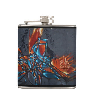 Fire Graffiti Hip Flask