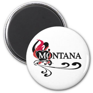 Fire Heart Montana 2 Inch Round Magnet