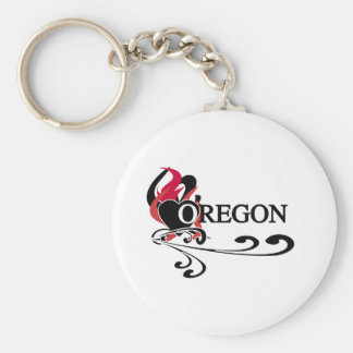Fire Heart Oregon Keychain