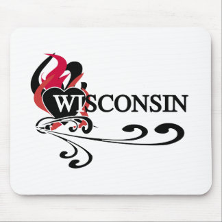 Fire Heart Wisconsin Mouse Pad
