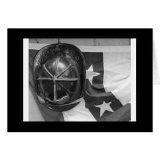 Fire Helmet and Flag Card
