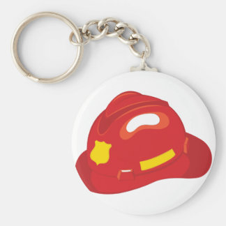 Fire Helmet Basic Round Button Keychain