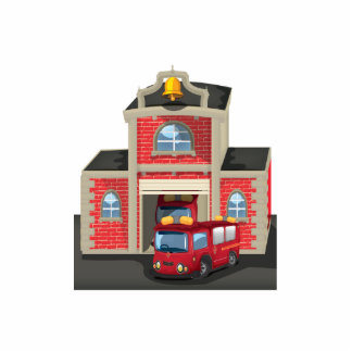 Fire House and Fire Truck Photo Sculpture Magnet