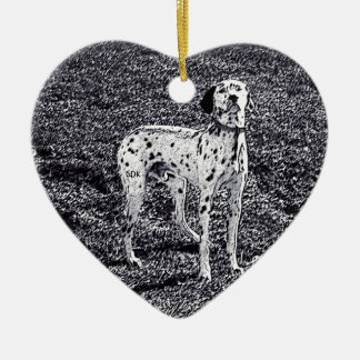 Fire House Dalmatian Dog in Black and White Ink Ceramic Heart Ornament
