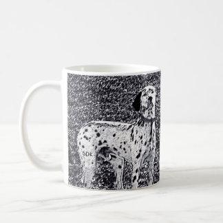 Fire House Dalmatian Dog in Black and White Ink Classic White Coffee Mug