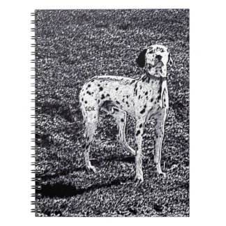 Fire House Dalmatian Dog in Black and White Ink Spiral Note Book