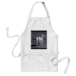 Fire House Dalmatian Dog in Black and White Ink Standard Apron
