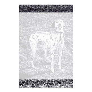 Fire House Dalmatian Dog in Black and White Ink Stationery Paper