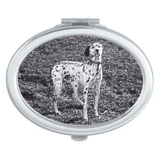 Fire House Dalmatian Dog in Black and White Ink Vanity Mirror