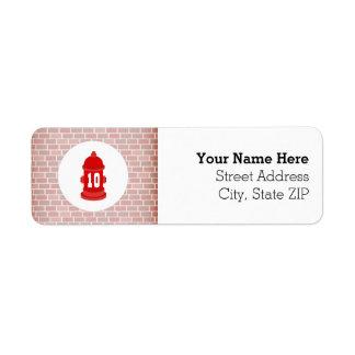 Fire Hydrant + Bricks Firefighter Birthday Party Return Address Label