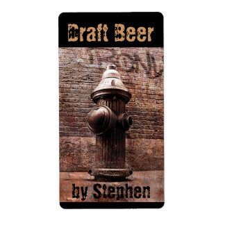 Fire hydrant draft beer bottle label